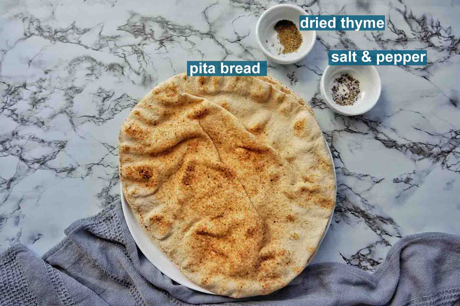 Air Fryer Pita Chip ingredients with text labels