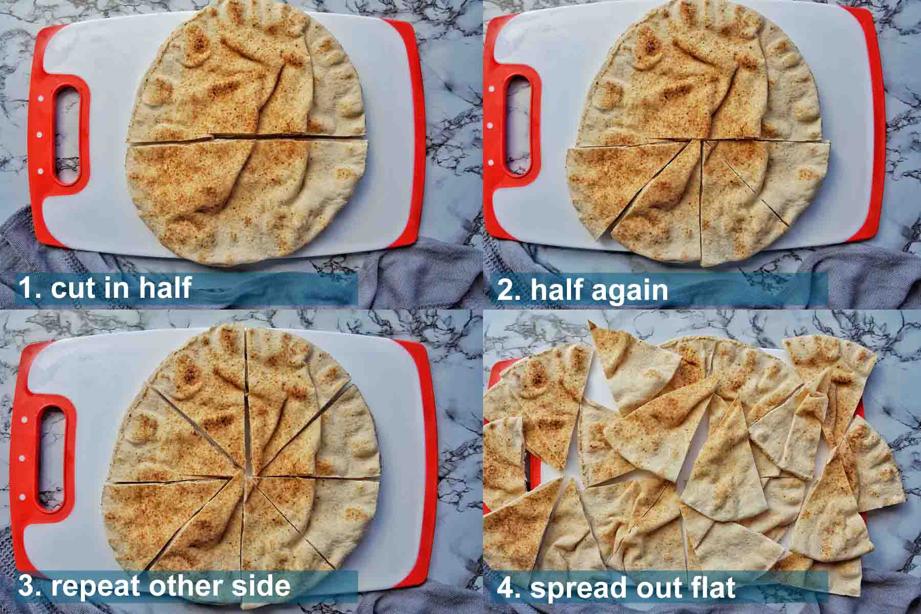 Method for Fir Frying pita chips 1 to 4