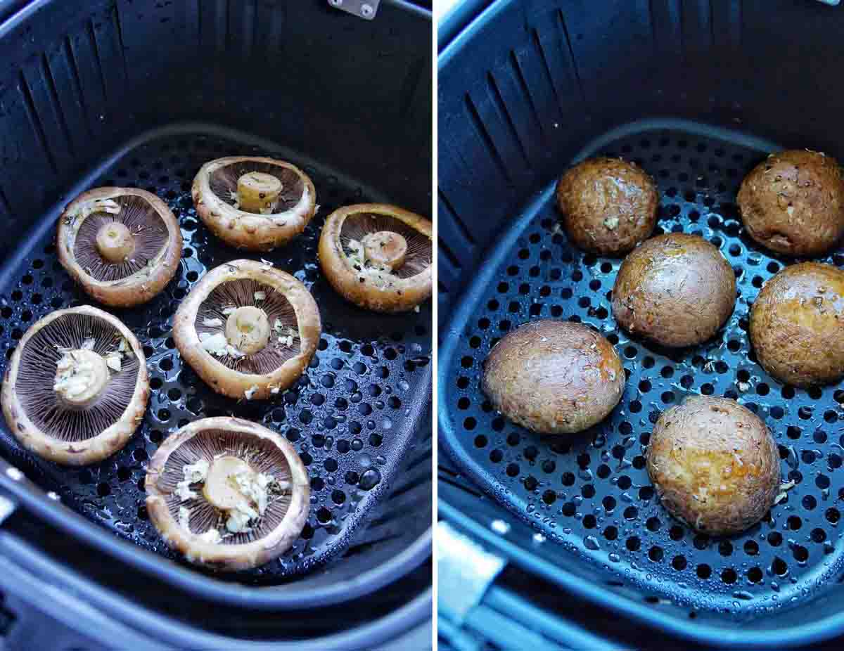 Portobello Mushrooms in Air Fryer before and after cooking