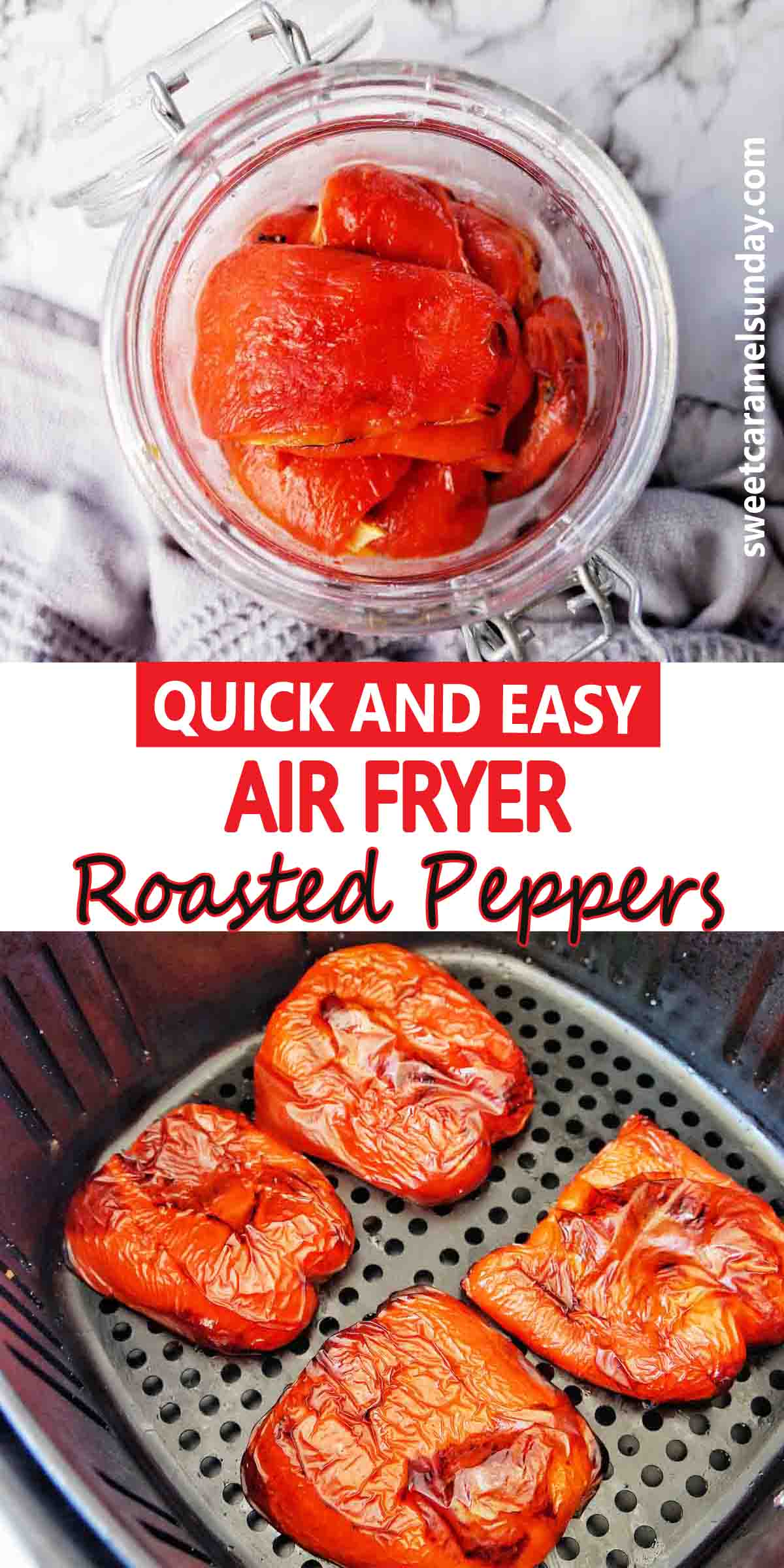 Air Fryer Roasted Peppers with text lablel