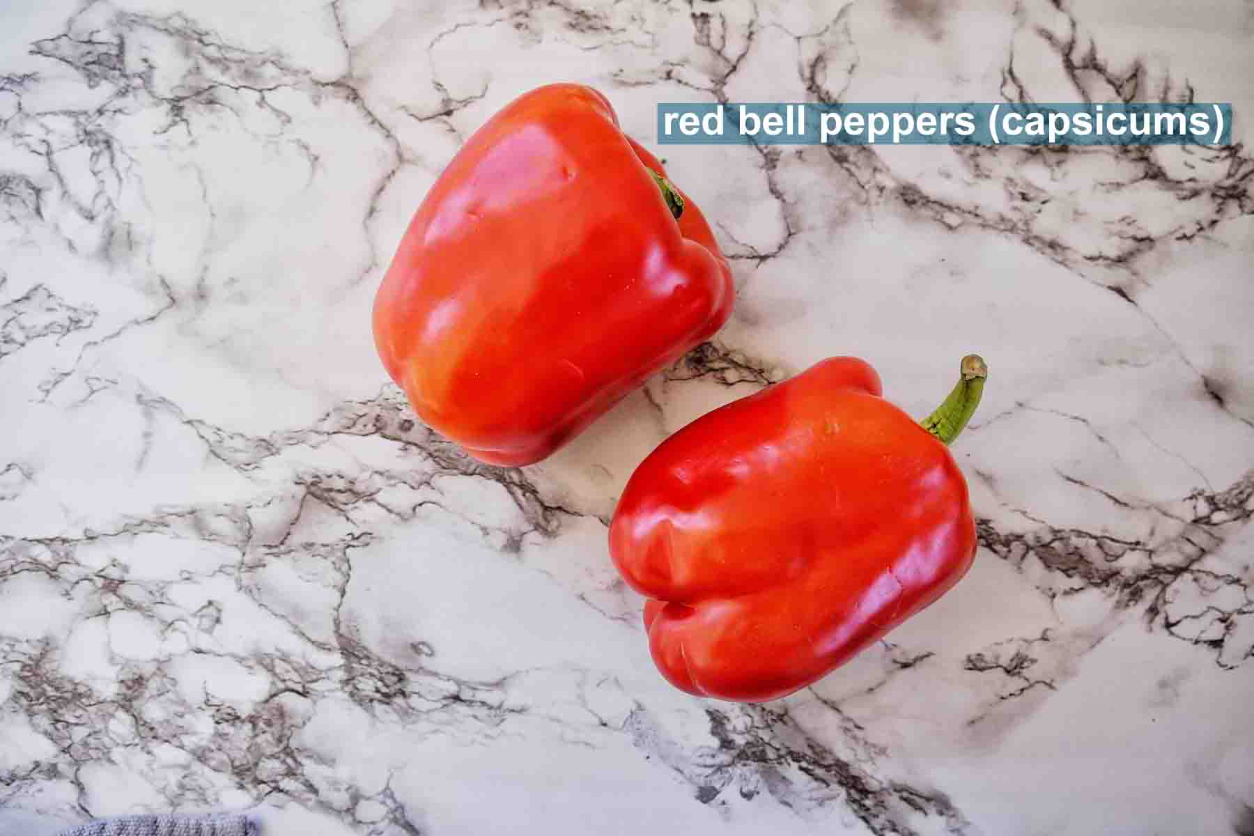 Air Fryer Roasted Red Pepper ingredients with text label