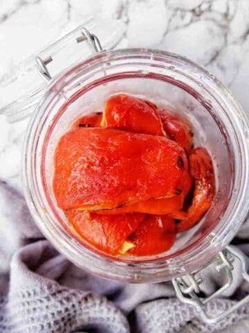 Roasted Red Capsicum in a glass jar