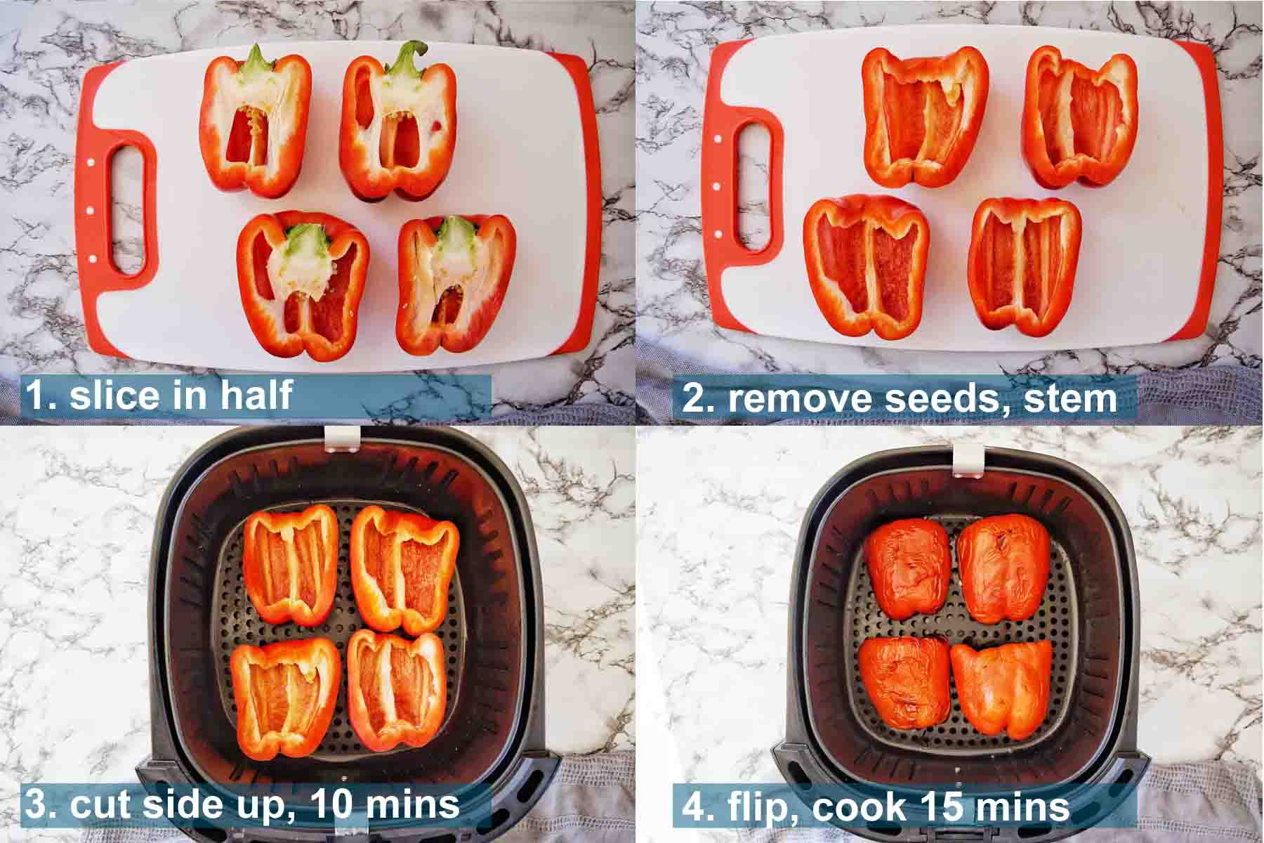 Air Fryer Roasted Peppers method 1 to 4 with text labels