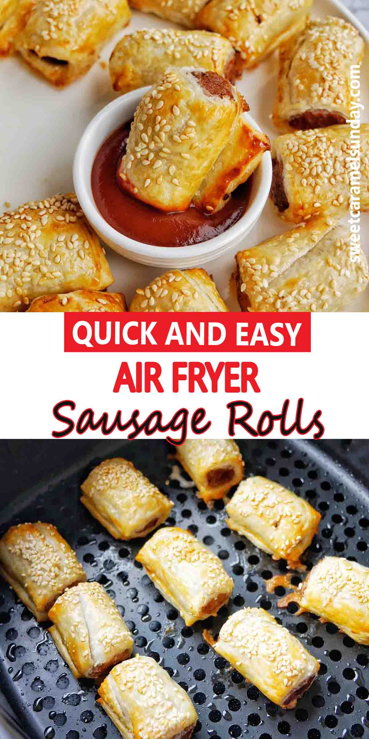 Air Fryer Sausage Rolls with text over lay