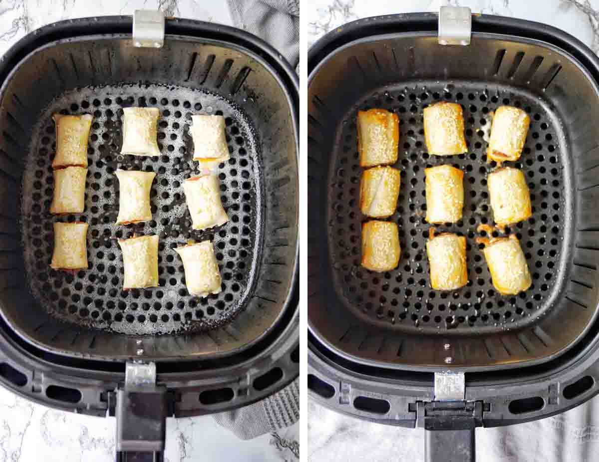 Before and after cooking Air Fryer Sausage rolls