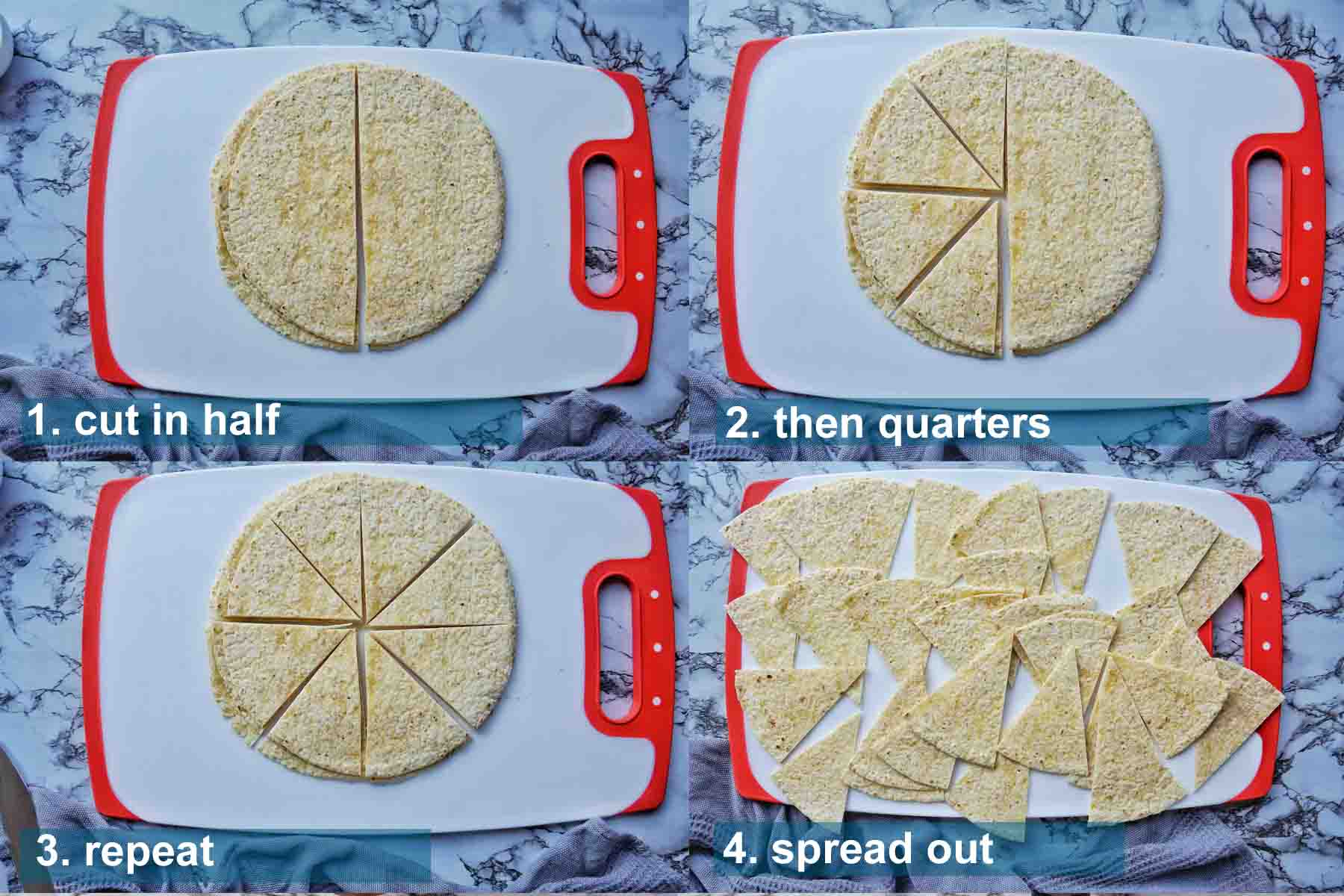 Air Fryer Tortilla Chips method 1 to 4  with text labels