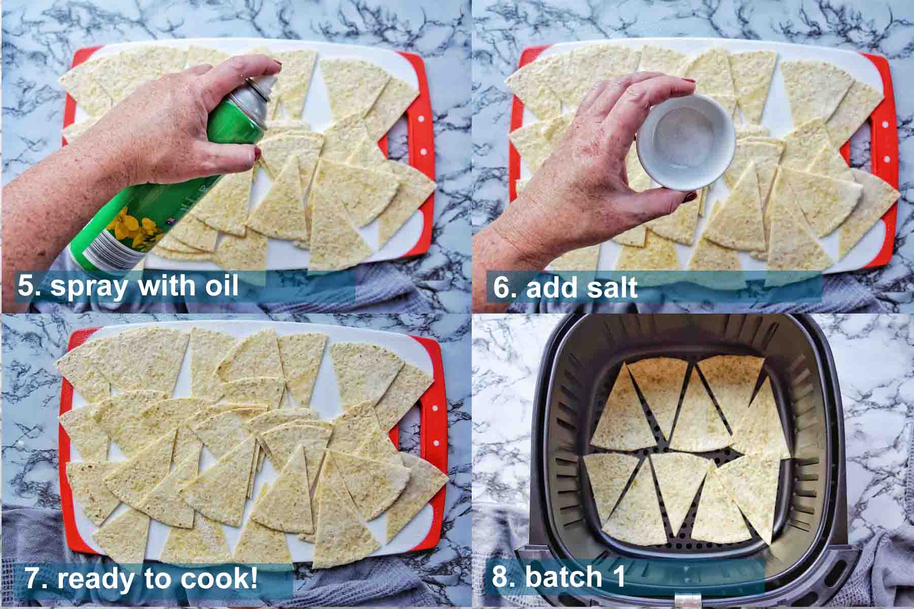 Method 5 to 8 for Air Fryer Tortilla Chips with text labels
