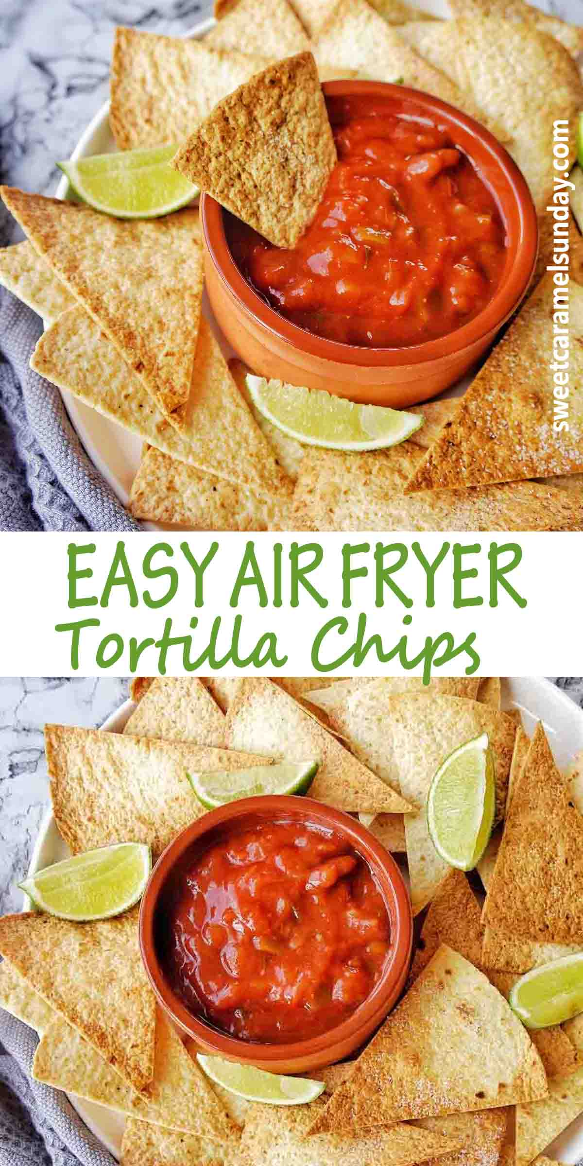 Air Fryer Tortilla Chips with text over lay