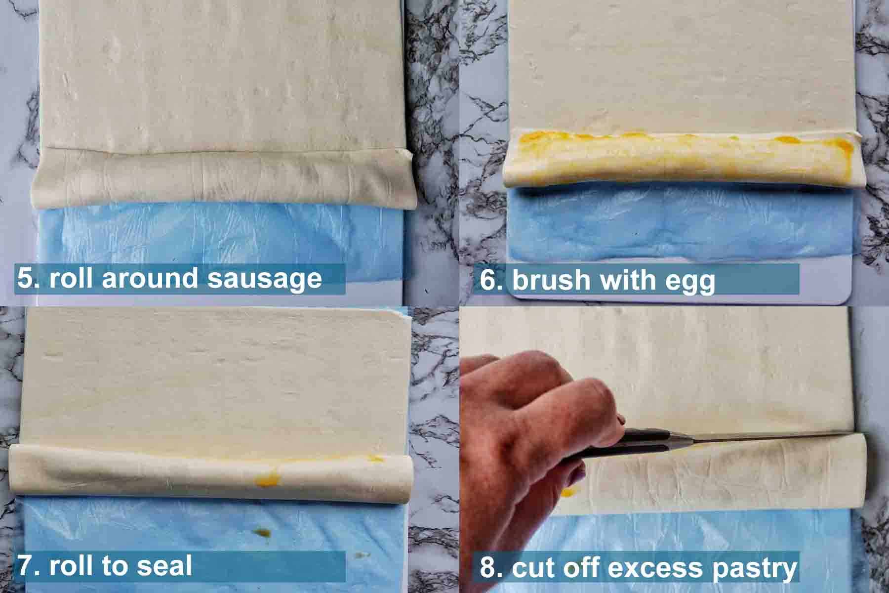 Air Fryer Sausage Rolls method 5 to 8 with text labels