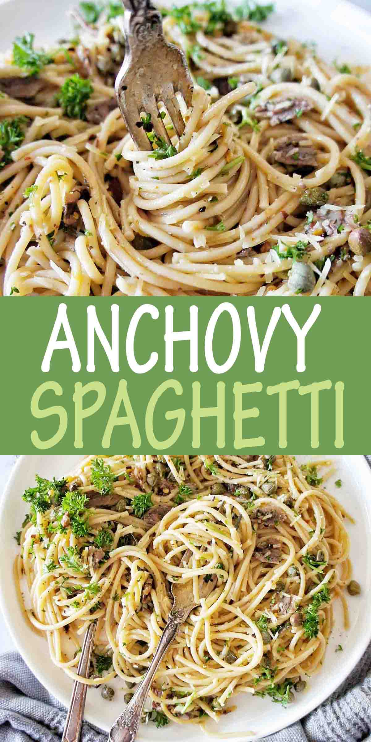 Anchovy Spaghetti with text over lay