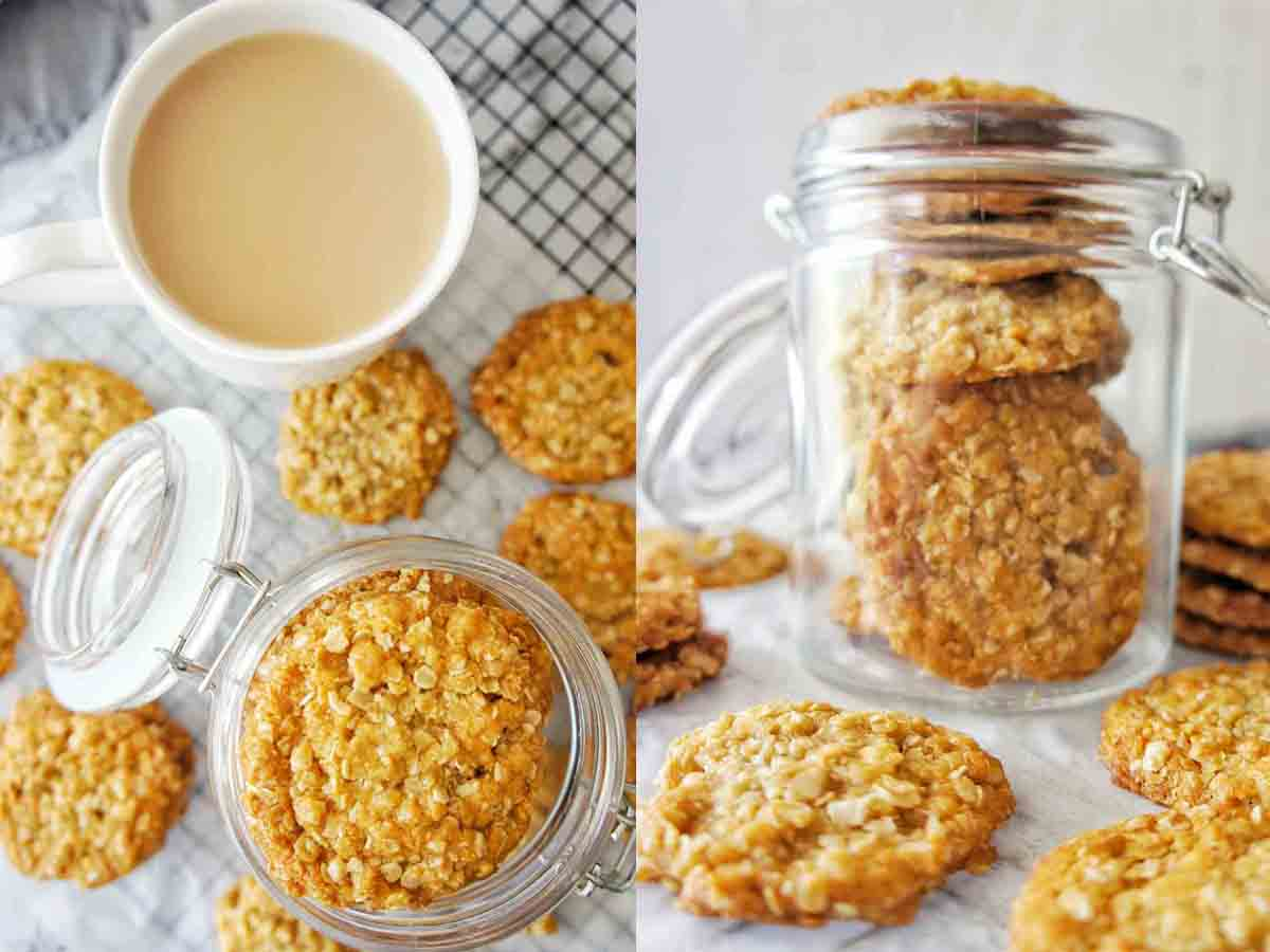 Anzac Biscuits in a jar with a white cup of milk tea