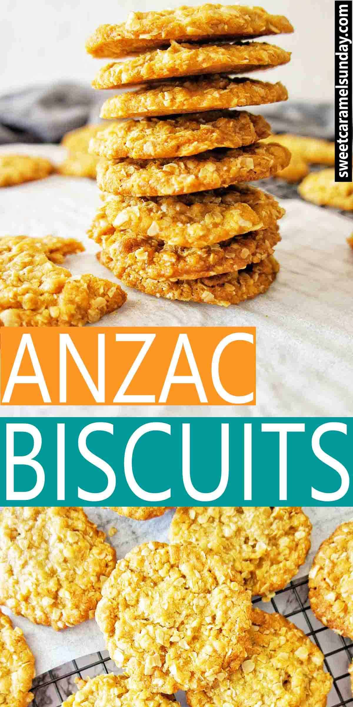 Anzac Biscuits with text overlay