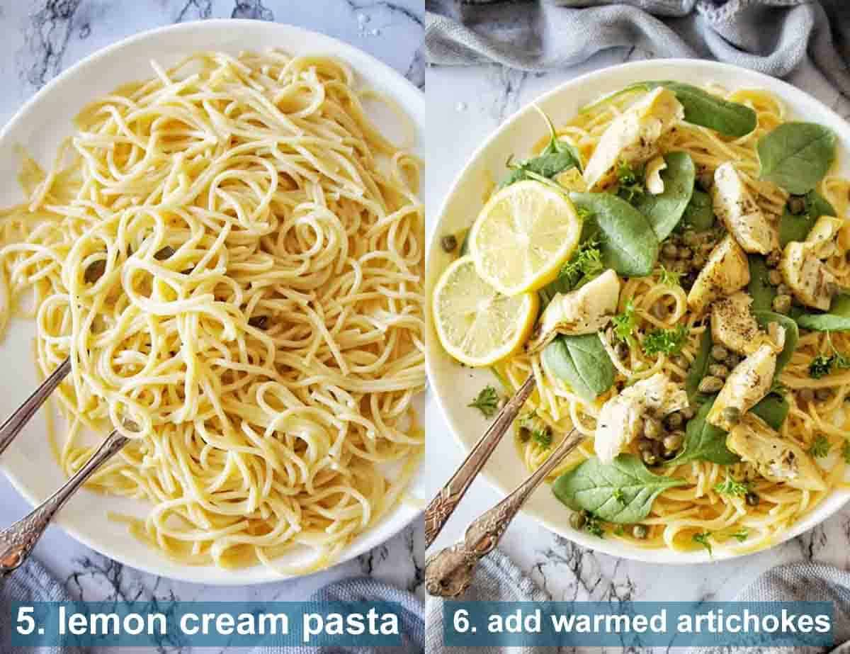 Artichoke spaghetti method 5 to 6 with text over lay