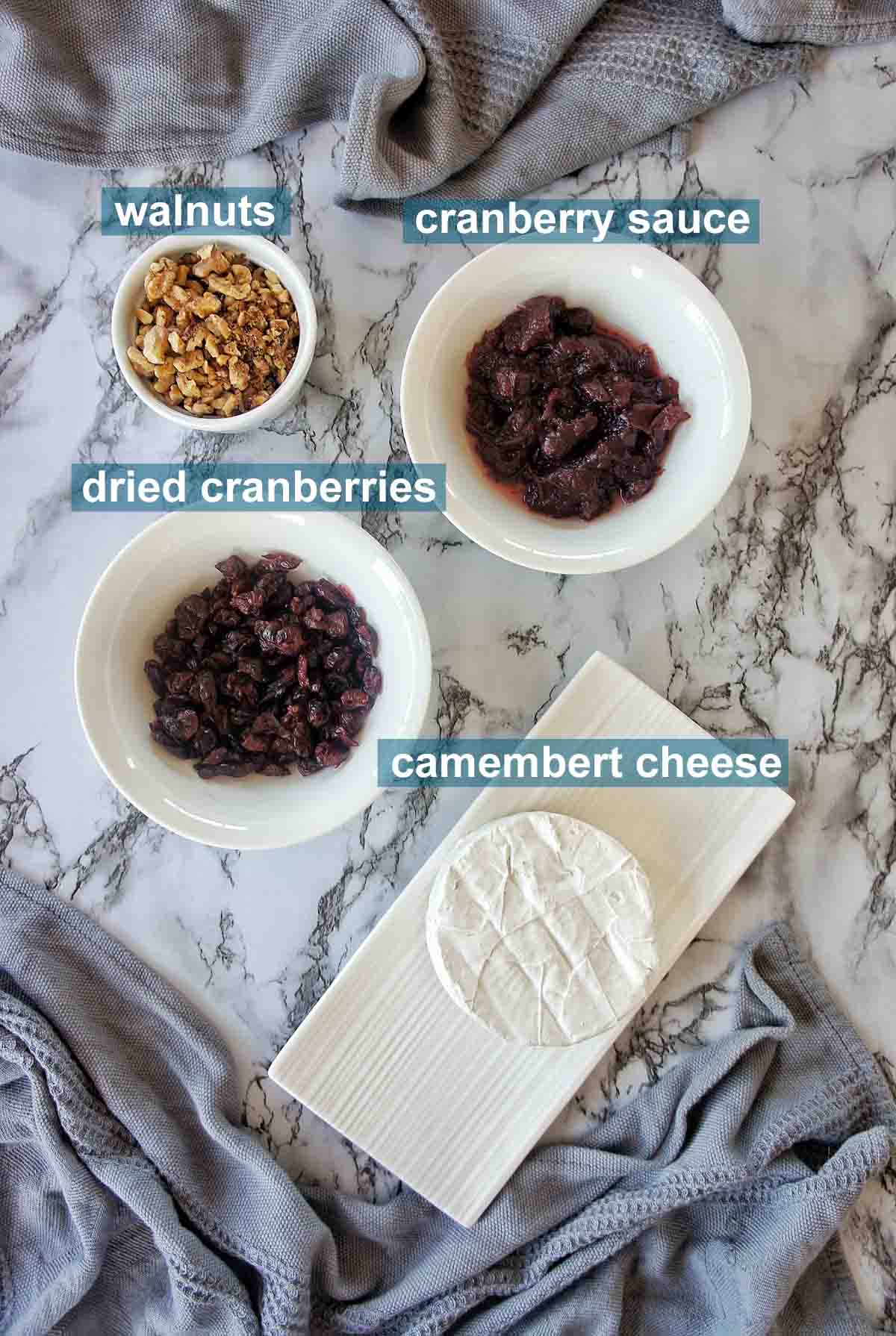 Baked Camembert Cranberry sauce ingredients with text overlay
