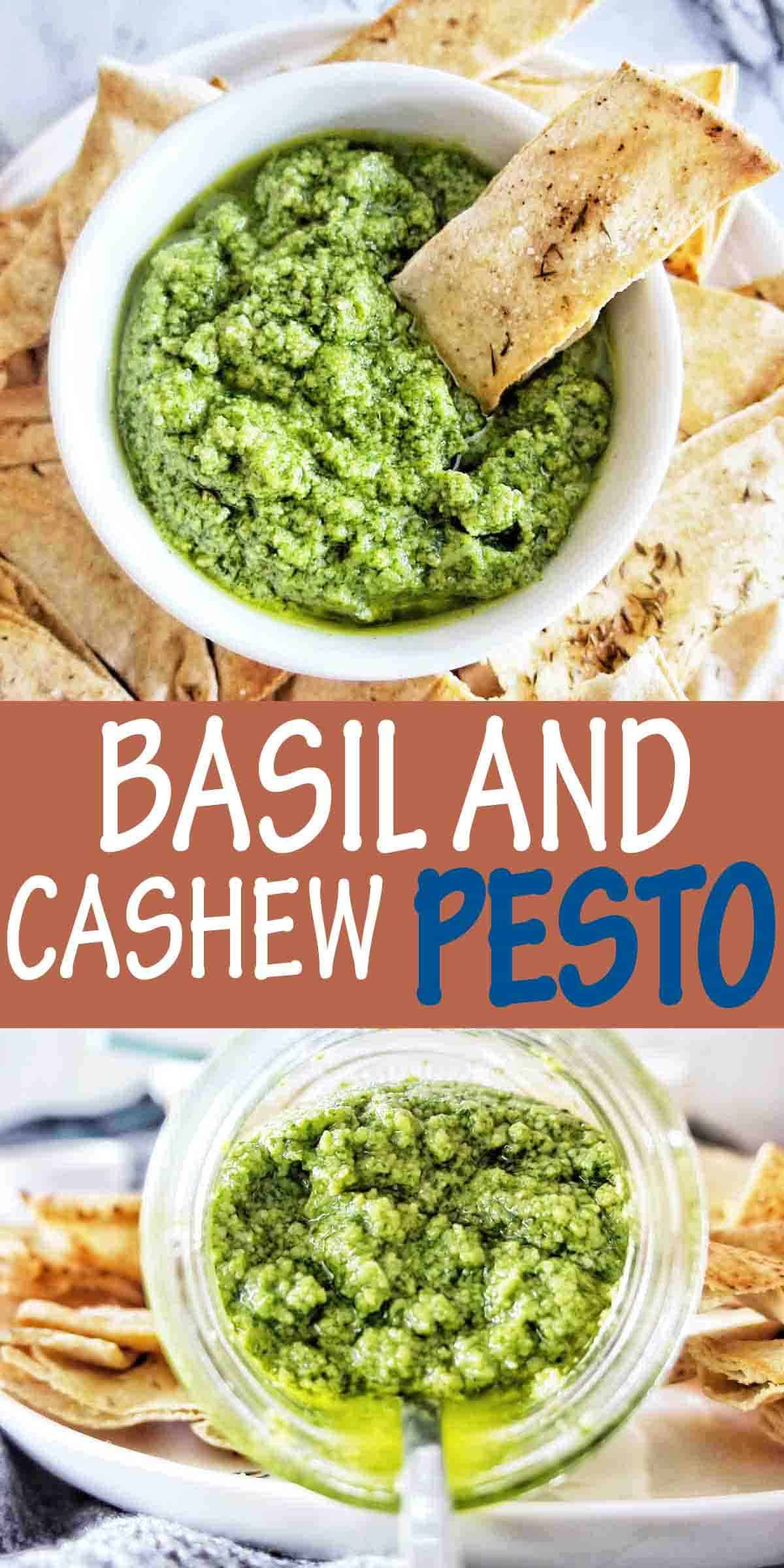Basil and Cashew Pesto with text over lay