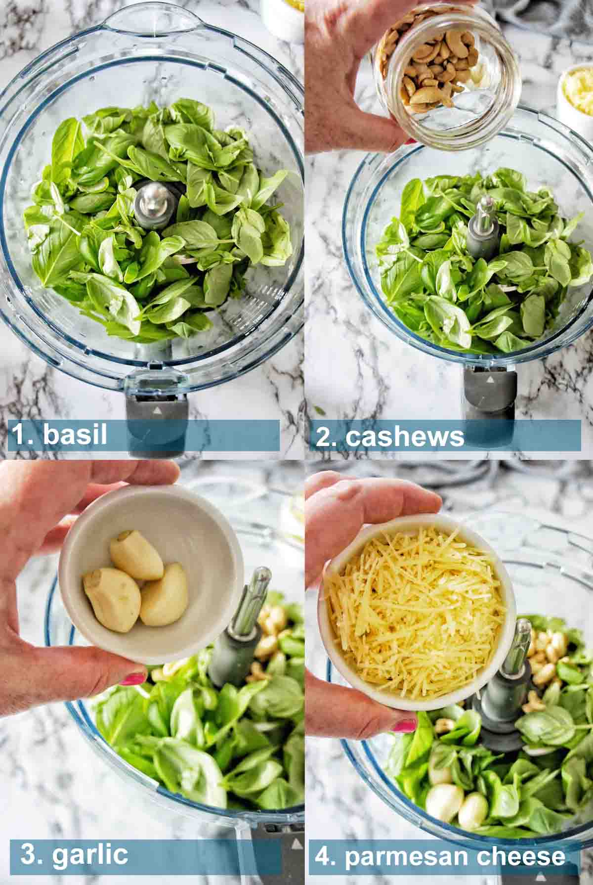 Basil and Cashew Pesto method with text over lay