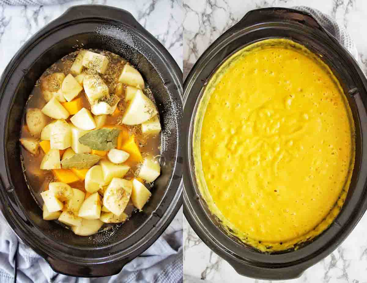 Before and after cooking images of Pumpkin Soup in the crock pot