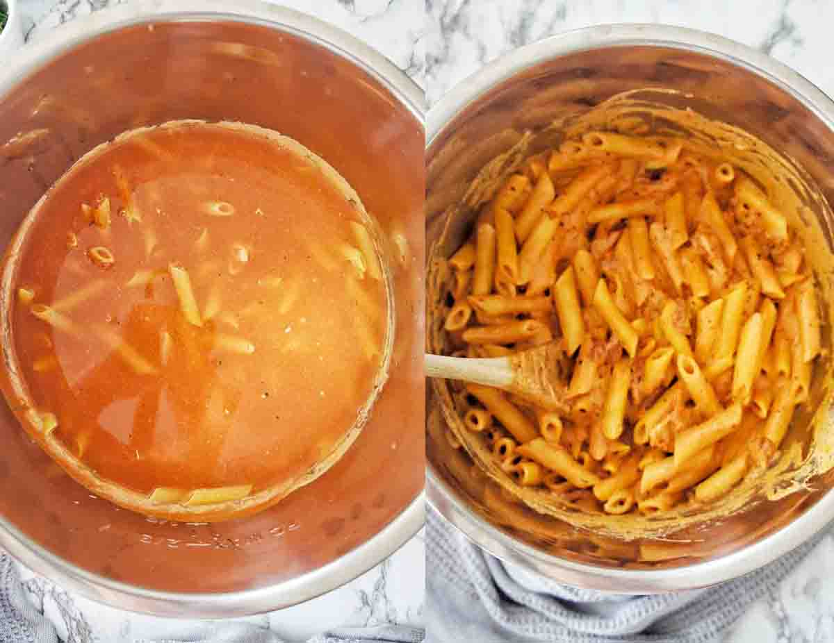 Before and after photos for penne pasta in the instant pot