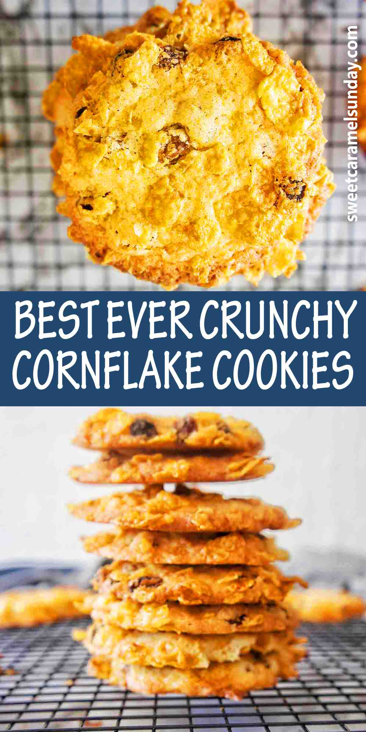 Crunchy Cornflake Biscuits with text over lay