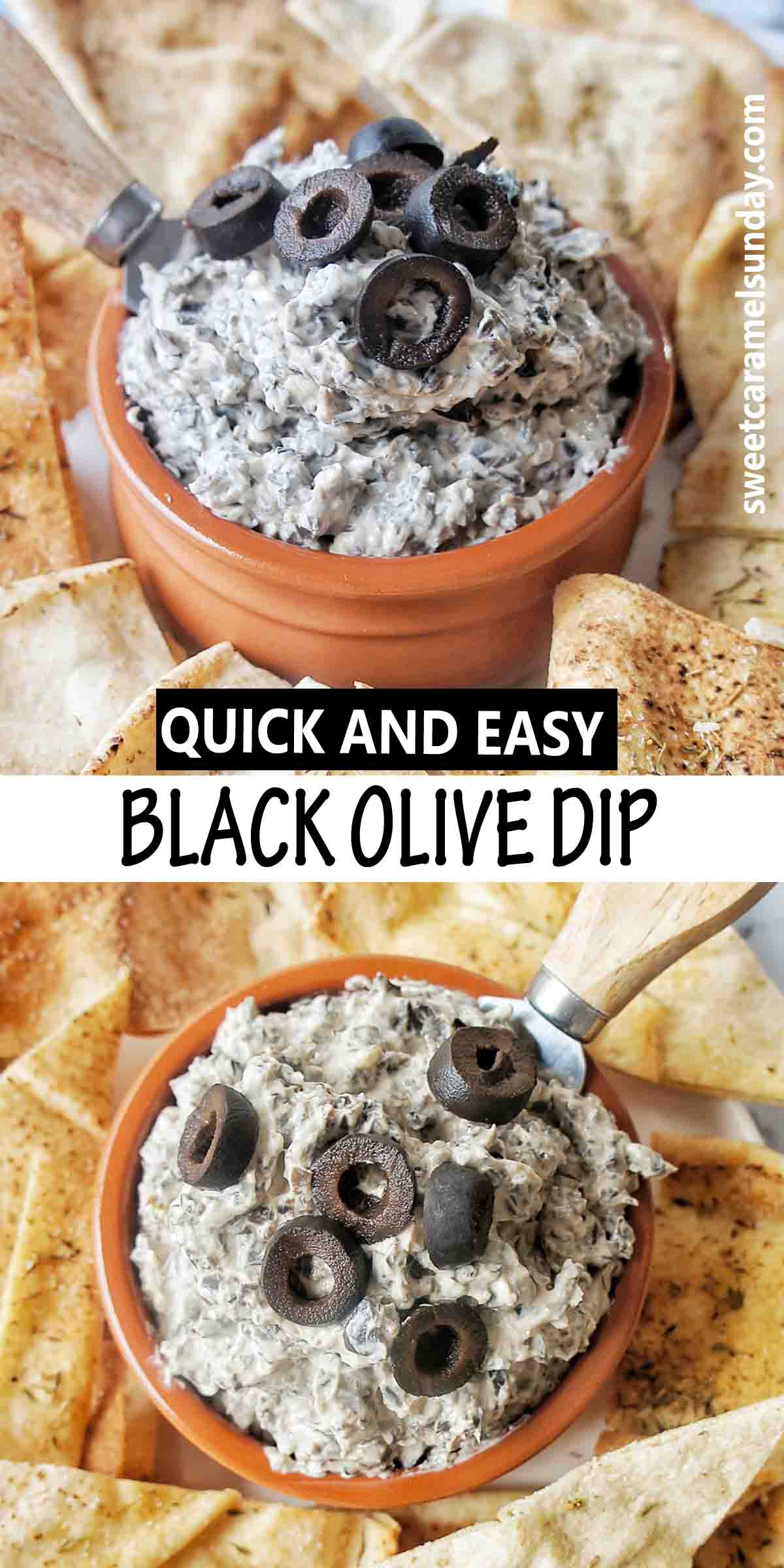 Black Olive Dip with text over lay