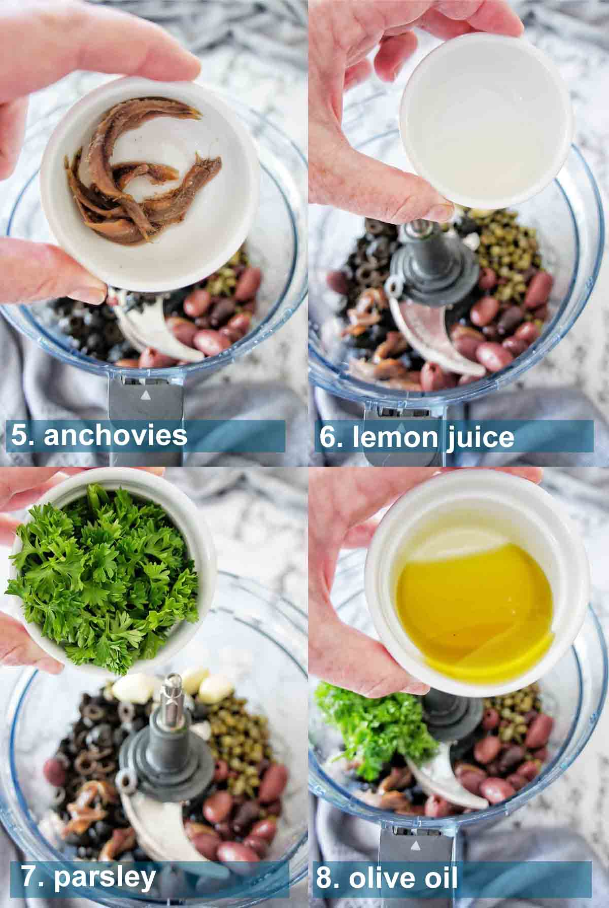 Process shots for black olive tapenade with text over lay