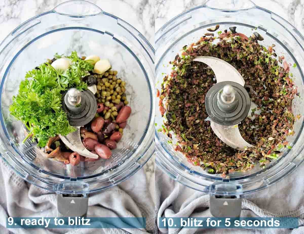 Black olive tapenade before and after blitzing with text over lay