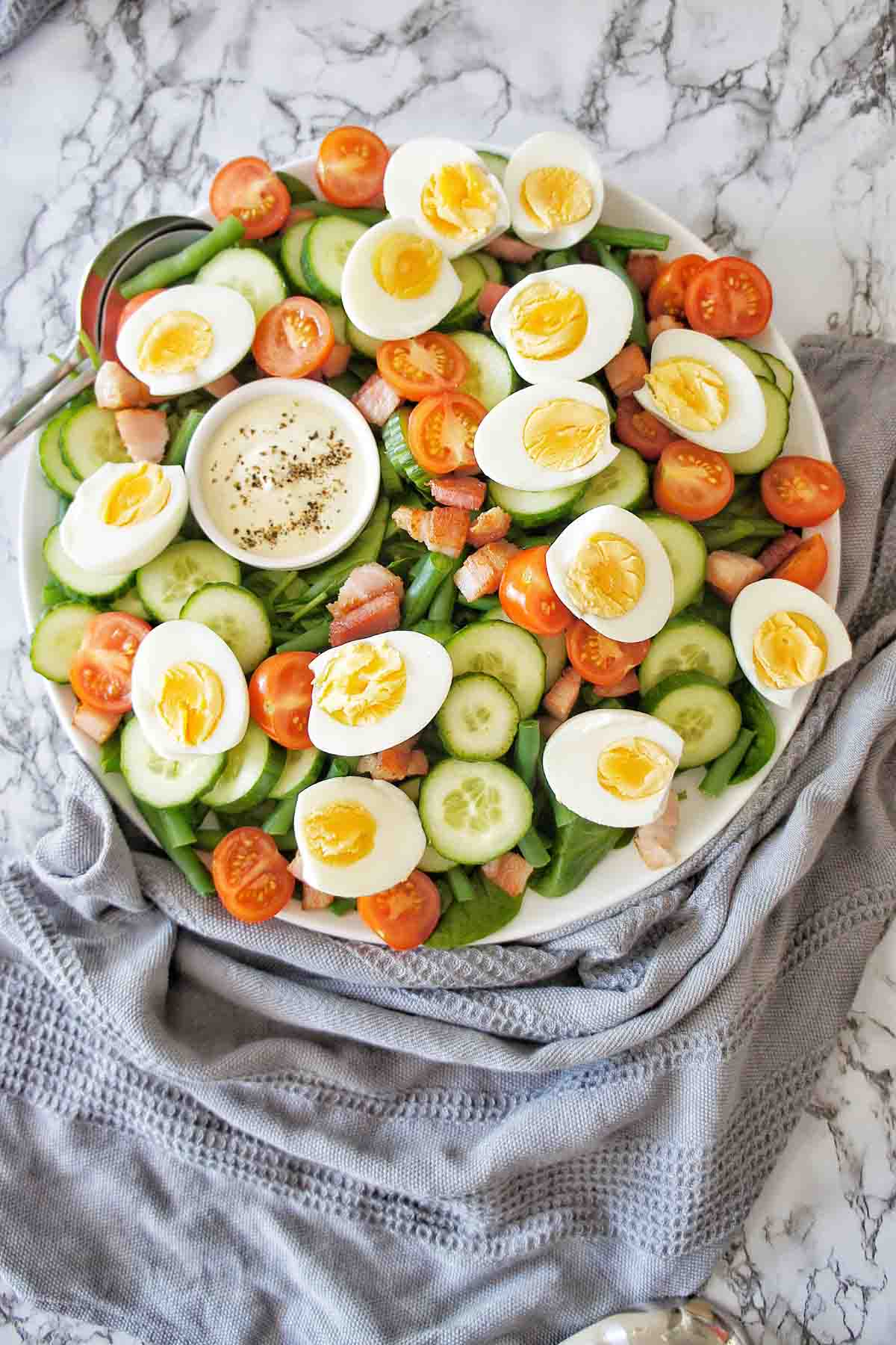 Hard Boiled Egg Salad on a white serving platter