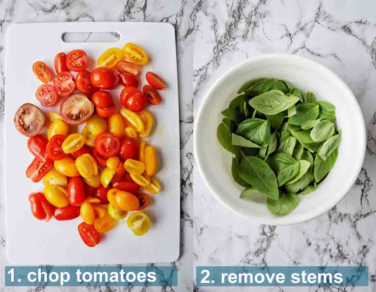 Burrata Salad method 1 to 2 with text labels
