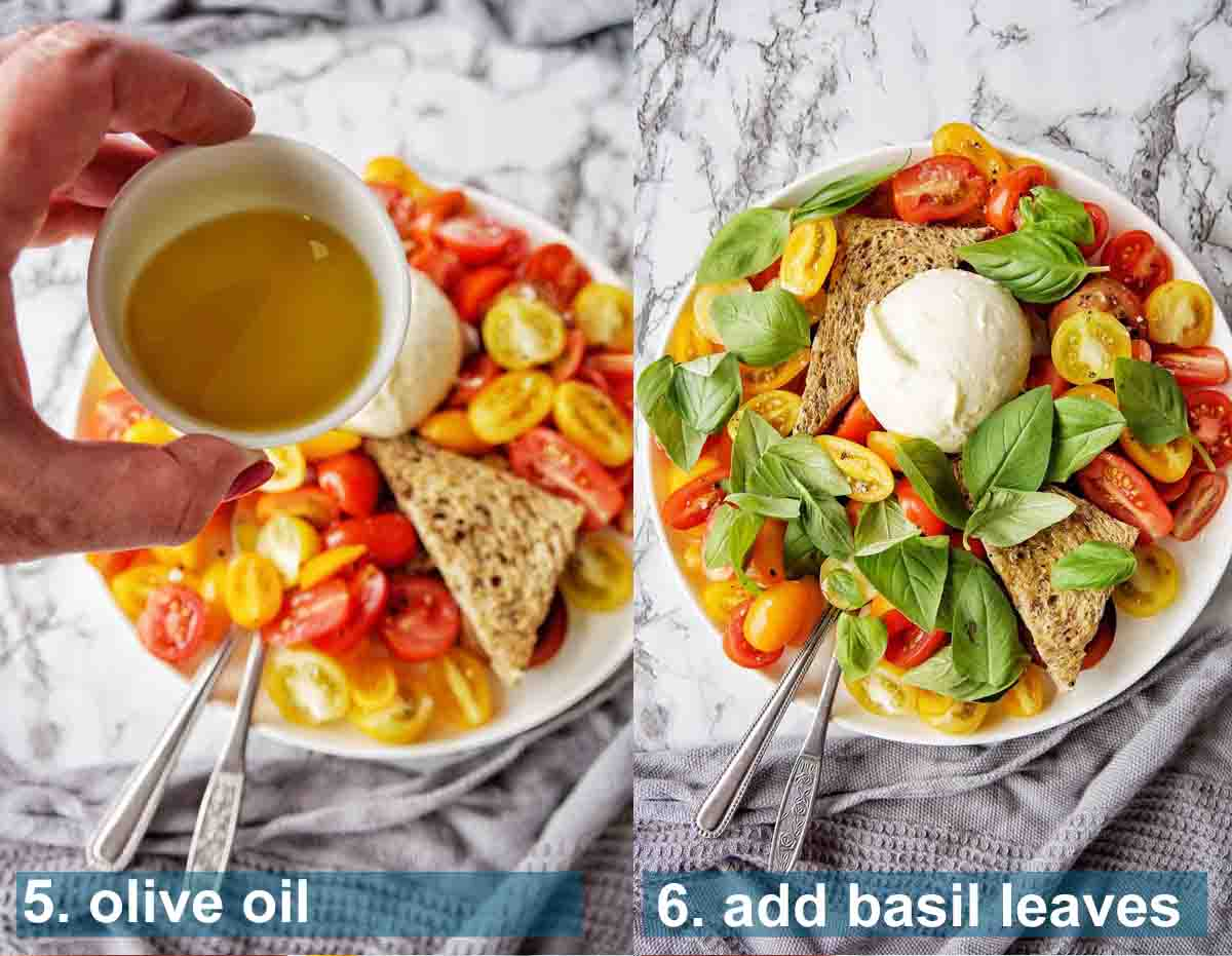Burrata Salad method 5 to 6 with text labels