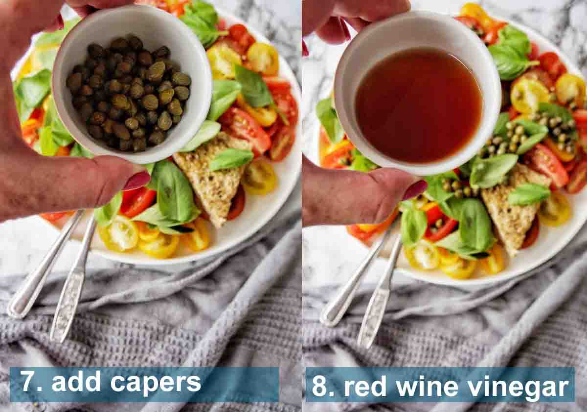 Burrata Salad method 7 to 8 with text labels