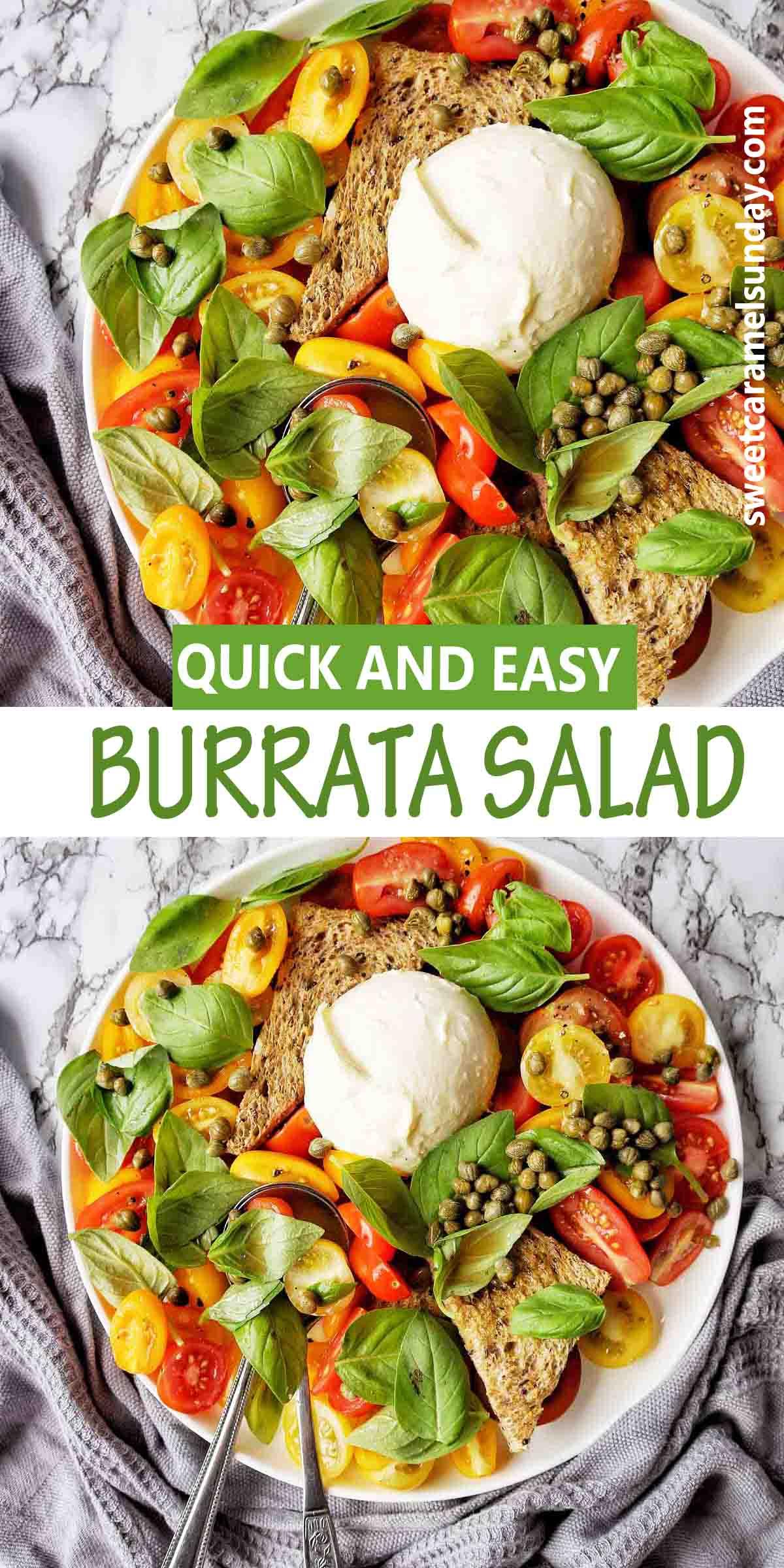 Burrata Salad with text overlay