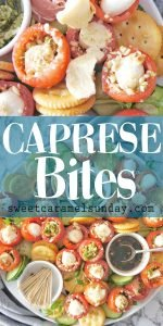 Caprese Bites platter with text overlay