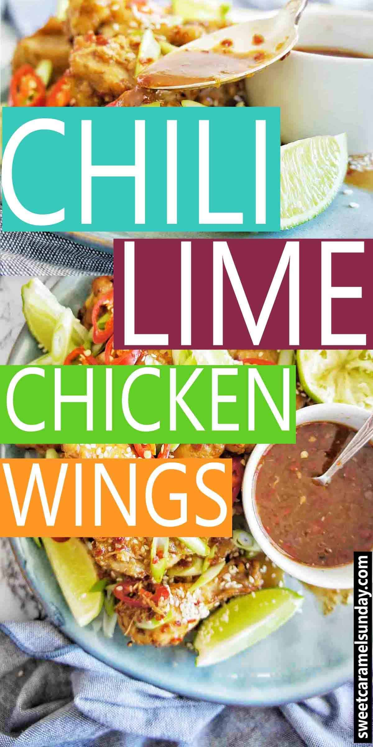 Chili Lime Chicken Wings with text overlay