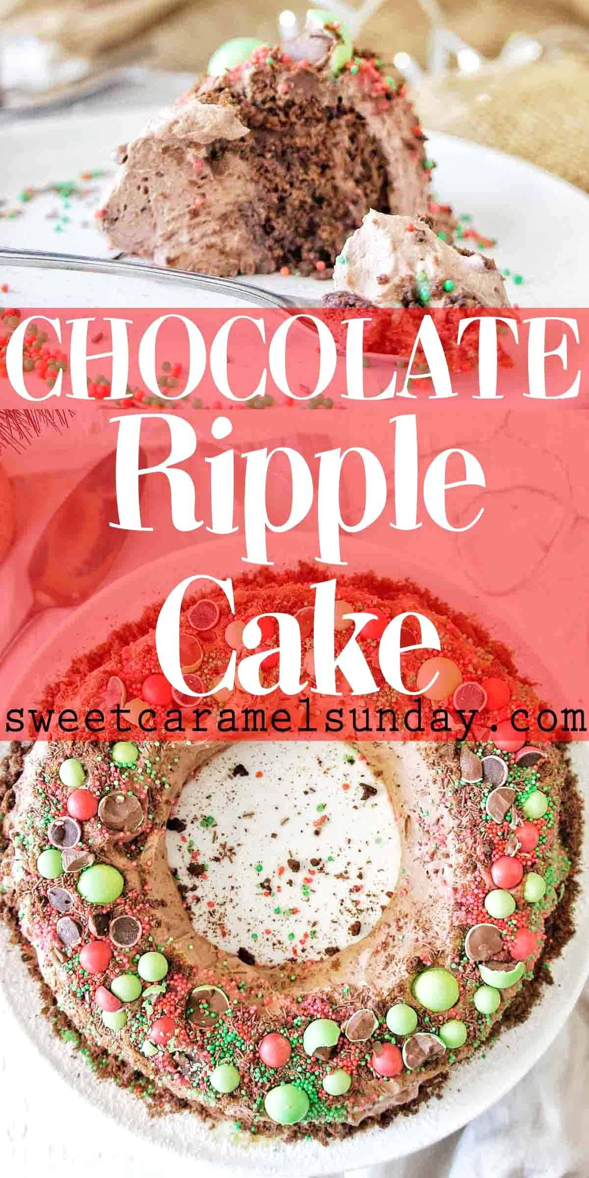 Chocolate Ripple Cake with text overlay