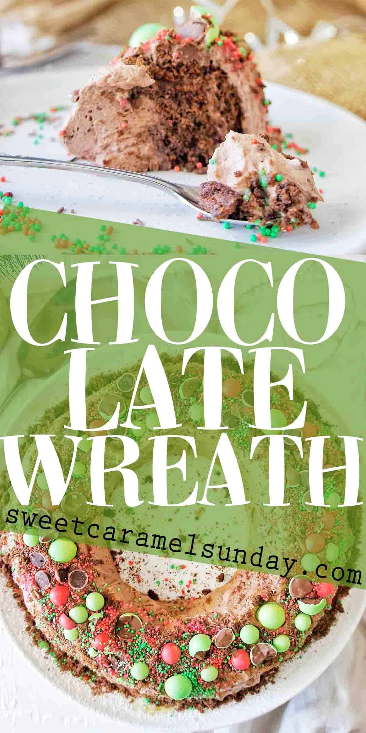 Chocolate Wreath with text overlay