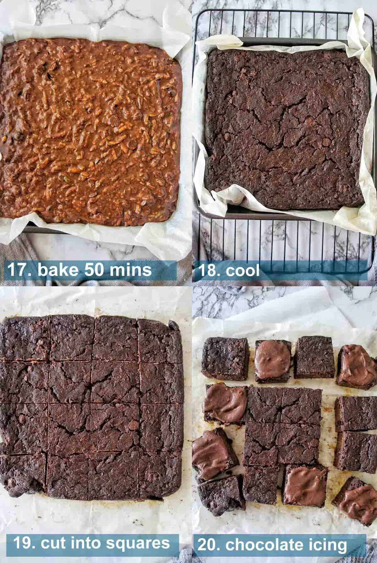 Chocolate Zucchini Brownies method with text over lay