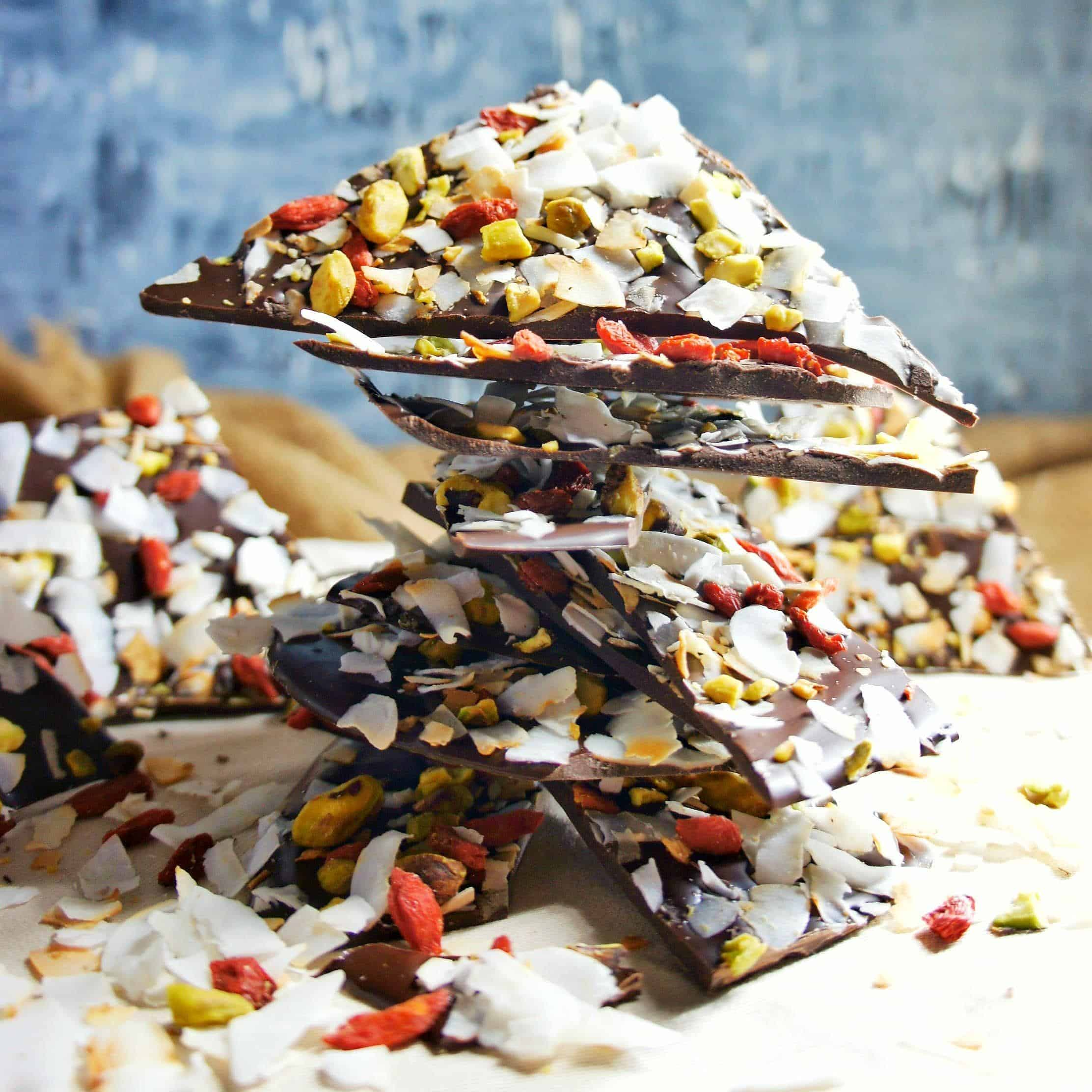 Dark Chocolate Bark broken into pieces and piled high