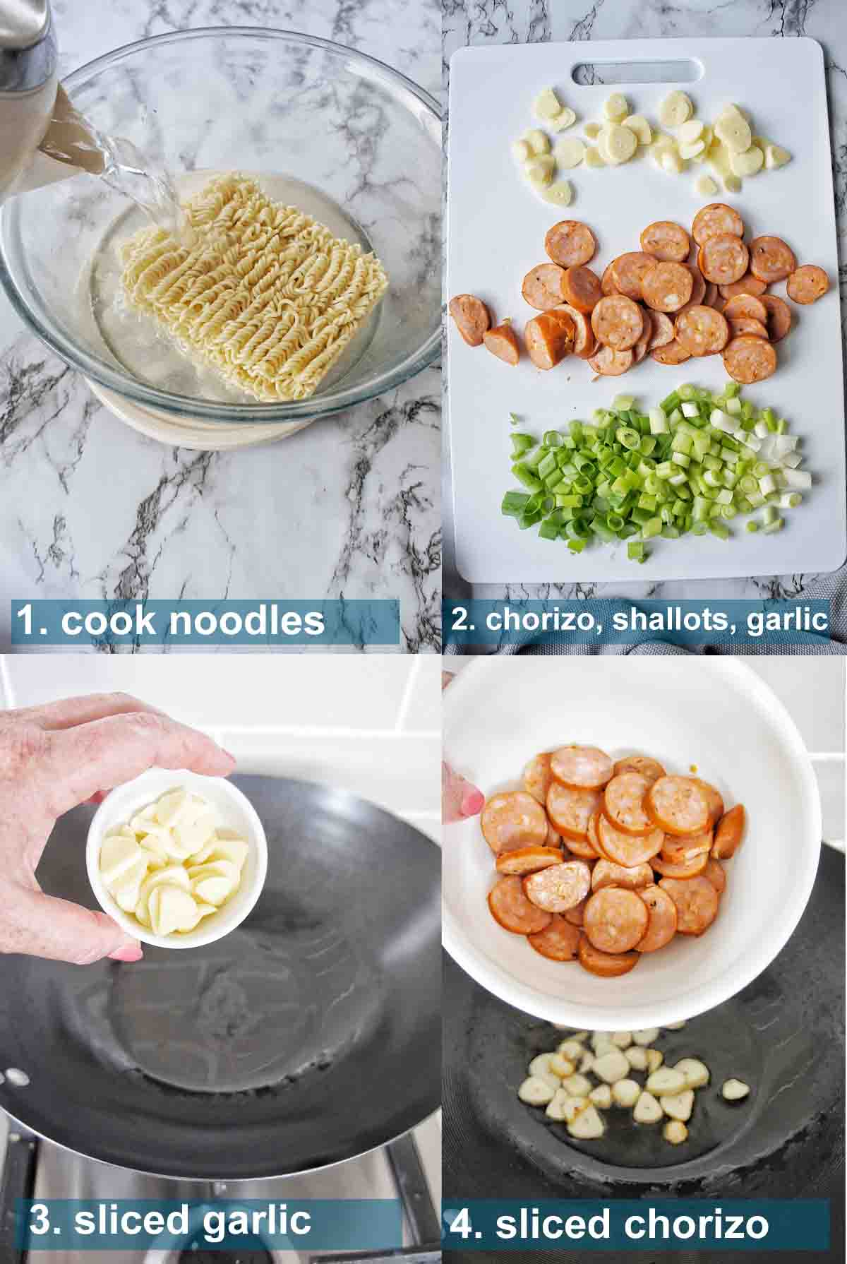 Chorizo Noodles method with text labels 1 to 4