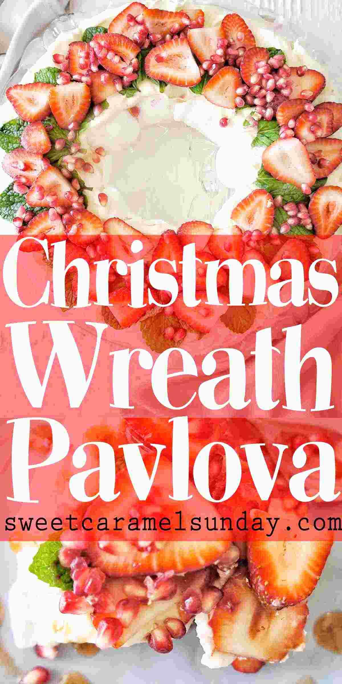 Christmas Wreath Pavlova with text overlay