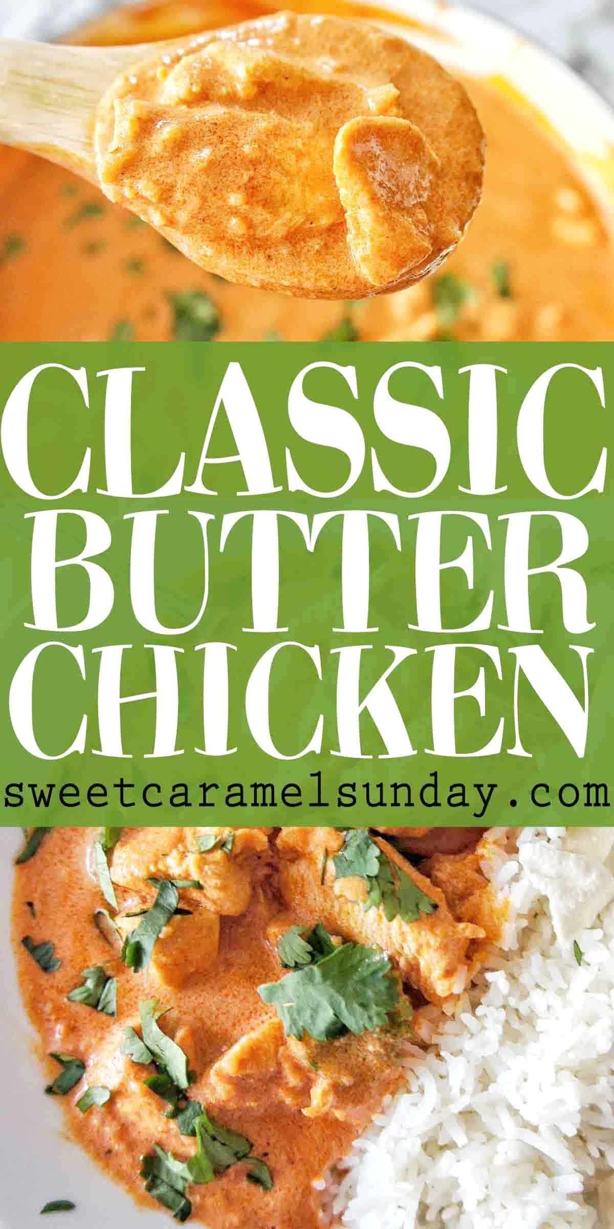 Easy Butter Chicken with text overlay
