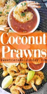 Coconut Prawns with text overlay