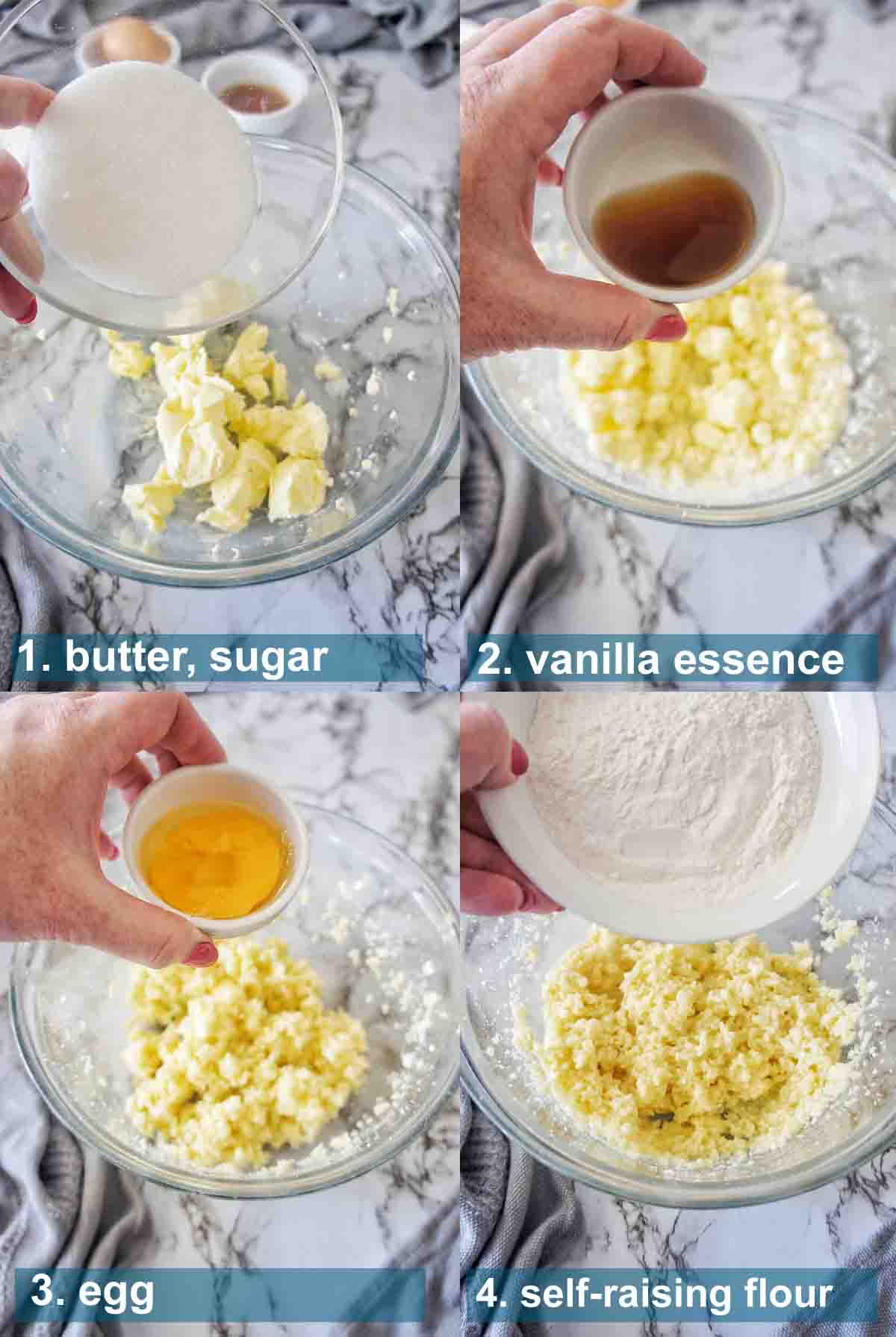 Cornflake Biscuit Method 1 to 4 with text over lay