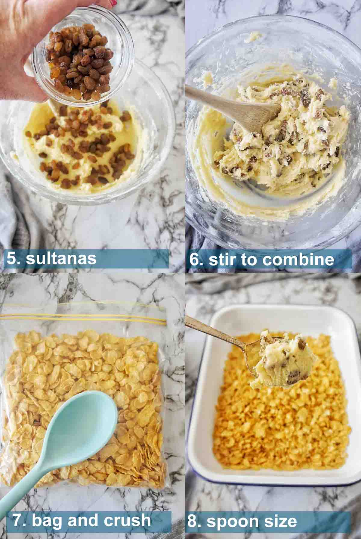 Cornflake Biscuits method 5 to 8 with text over lay