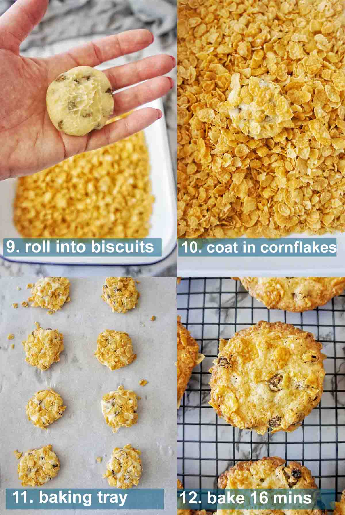 Cornflake Biscuits method with text over lay 9 to 12