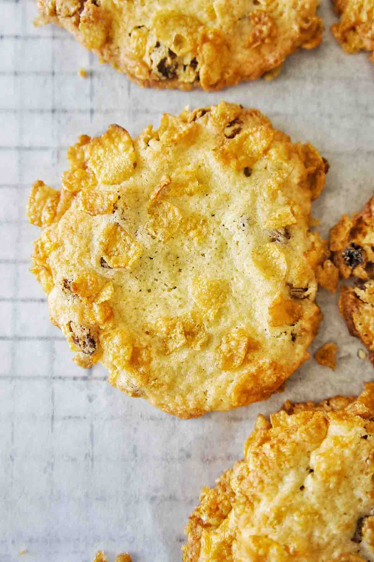 Cornflake Biscuits on white baking paper