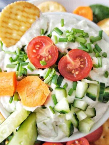 Platter with veggies and cottage cheese dip