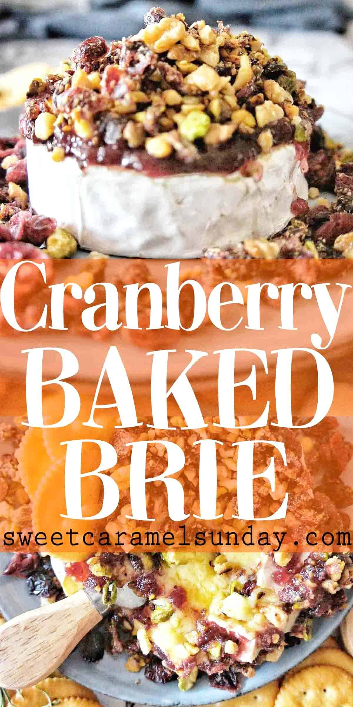 Cranberry Baked Brie on a blue plate with text overlay