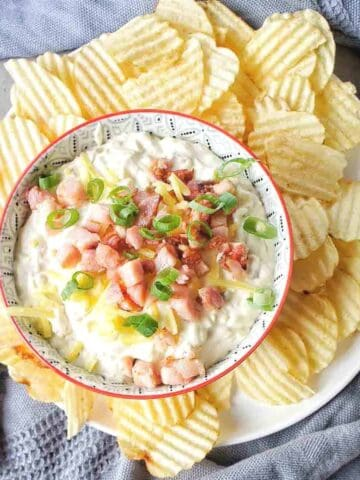 Cream Cheese Dip in a bowl with crackers around it