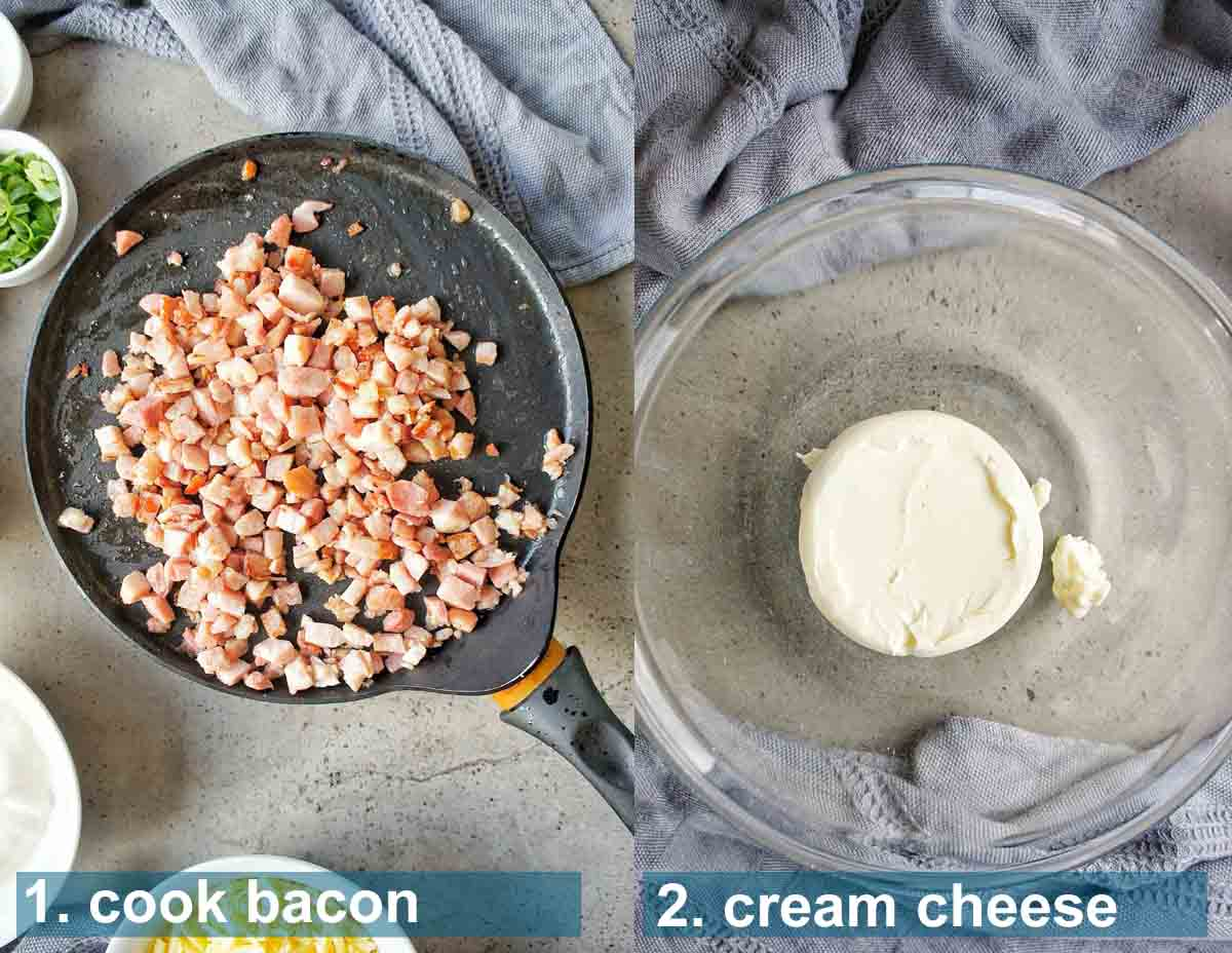 Cream Cheese Bacon Dip method 1 to 2 with text over lay