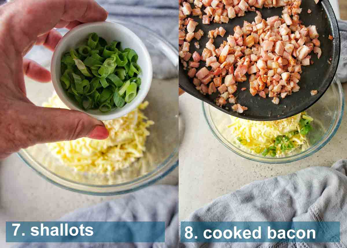 Bacon Cheese Dip method 7 to 8 with text labels